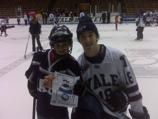 "Stanley and Charlie Keogh with Kenny Agostino from USA Today's/USA Hockey Magazine's #1 Yale Bulldog team at Yale's ""Skate with the varsity"" event at the Yale Whale, January 30.: Photo submitted by Tom Keogh"