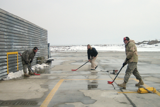 Even in a remote outpost of Afghanistan, Angela Ruggiero managed to get in a little hockey practice. Ruggiero was a member of a goodwill tour of Olympic athletes that traveled to Afghanistan to say 'thank you' to American troops serving there.