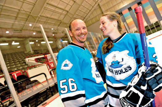 For busy couples like Bryan and Georgia Taylor, playing hockey in an adult league at the Lawrence Joel Veterans Memorial Coliseum Annex in Winston-Salem, N.C., provides a welcome break from the rigors of the work week.