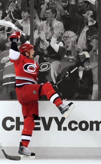 Goal celebrations by Eric Staal of the Carolina Hurricanes, or the Washington Capitals' Alex  Ovechkin, can really fire up the home crowd, but can also set opposing players fuming.