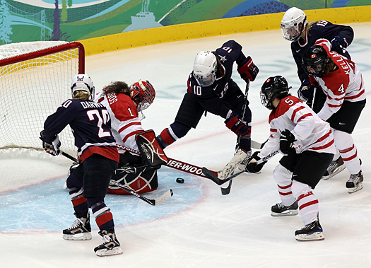 The U.S. Women's Team peppered Canadian goalie Shannon Szabados with 28 shots but couldn't slip one past.