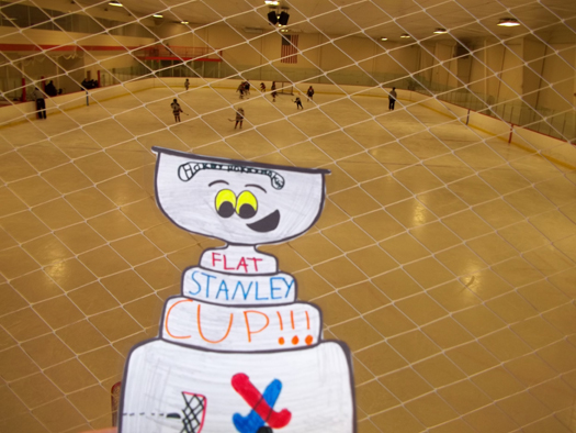 Flat Stanley Cup visits the New England Sports Center's rink #5 in Marlboro, Mass.: Photo submitted by Kelly Hansen