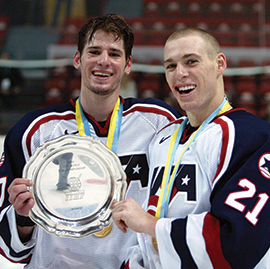 Baby-faced Ryan Kesler and David Booth share in the spoils of victory after the U.S. Junior National Team claims its first World Junior Championship title in 2004.