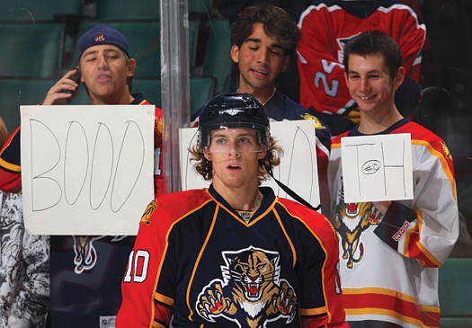 "With his outgoing personality and easy smile, David Booth has become a fan favorite in Florida Panthers fans, who yell ""Boooooth"" every time he touches the puck."