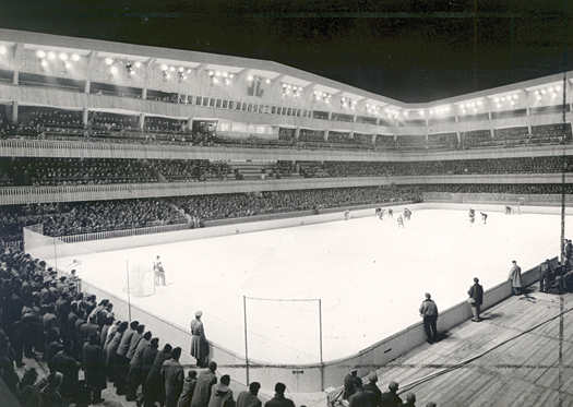 The majestic horseshoe-shaped bowl of the ice arena in Cortina d'Ampezzo, Italy provided a chilling venue for Olympic hockey tournament.