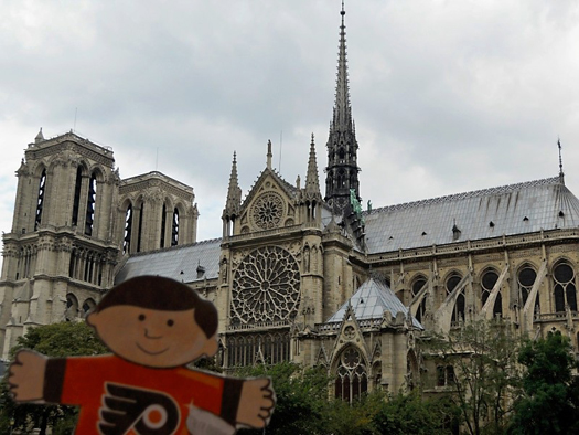 Flat Stanley at the Notre Dame Cathedal: Photo submitted by Stacy Doherty