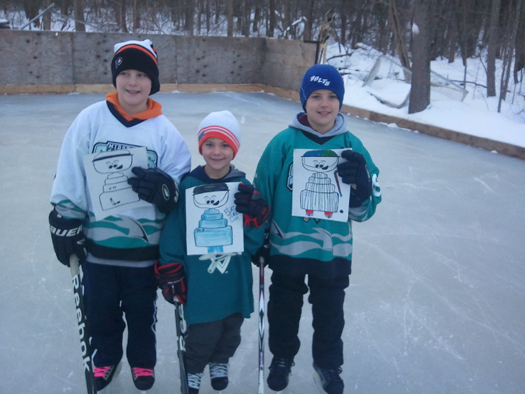 The Sheeran boys, Mikey, Brendan & Danny enjoy some outdoor ice after school with Flat Stanley Cup in Auburn, Mass.: Photo submitted by Mike Sheeran