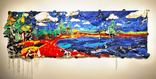 "Bayside Field: A View to St. Croix Island, recycled hockey gear and oil paint on plywood, 120"" x 60"" x 60"", 2008."