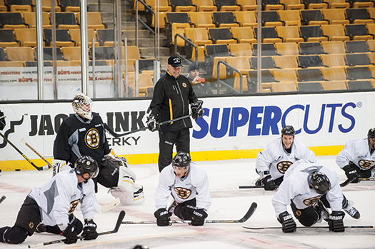 After addressing 500 USA Hockey registered coaches, Boston Bruins Head Coach Claude Julien put his team through a morning skate at the TD Garden.