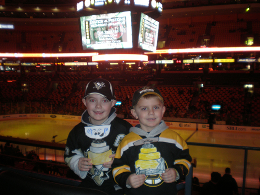 Sibling rivalry flares up as Daniel O'Connor (7) & brother Ryan (4) take Stanley Cup to the TD Bank North Garden for a match-up with their favorite teams, the Bruins & Penguins.: Photo submitted by Rachel O'Connor