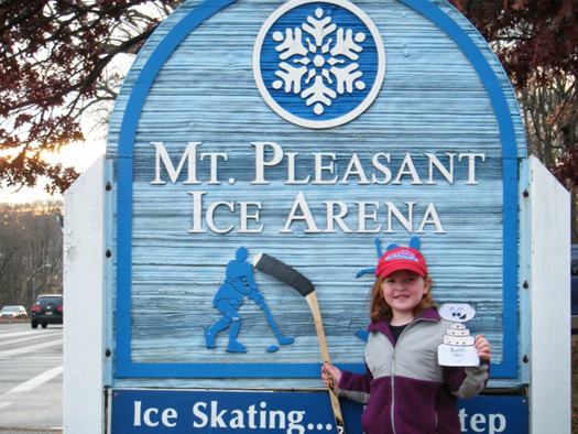 Flat Stanley Cup gets a chance to visit Quinby Sohlberg's (Susquehanna Rapids U10) home ice in Baltimore.: Photo submitted by Robert Sohlberg