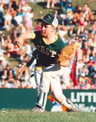 Drury as pitcher for the Trumbull Little League team