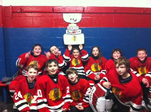 Flat Stanley traveled to Everett Arena with the Rochester Blackhawks Squirt 2 team for an 8 - 6 win over the Concord Capitals!: Photo submitted by Lisa Saucier