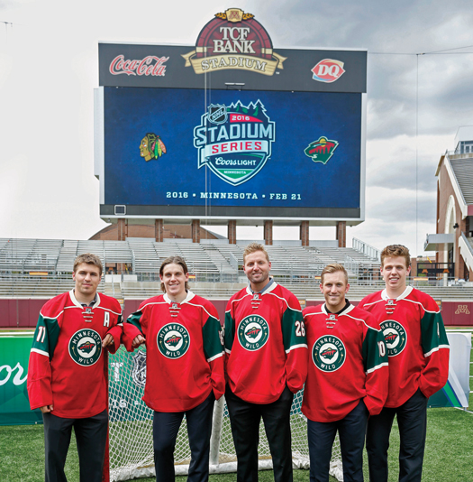 Members of the Minnesota Wild are looking forward to taking their game outdoors against the Chicago Blackhawks at TCF Bank Stadium on Feb. 21 as part of Hockey Weekend Across America.