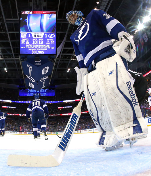 Ben Bishop of the Tampa Bay Lightning is among a growing cadre of talented American puckstoppers who are taking the NHL by storm.