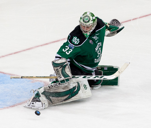 Cam Johnson  backstopped the University of North Dakota to the 2016 NCAA title.