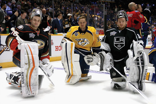 John Gibson, left, and Jonathan Quick, right, seen here with fellow All-Star goalie Pekka Rinne, are products of the American goaltender development system.