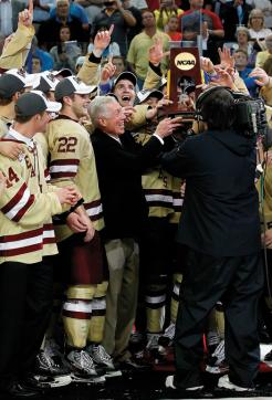 The Boston College Eagles made themselves right at home at the Tampa Bay Times Forum as they skated off with their fifth NCAA title with a 4-1 victory over Ferris State.