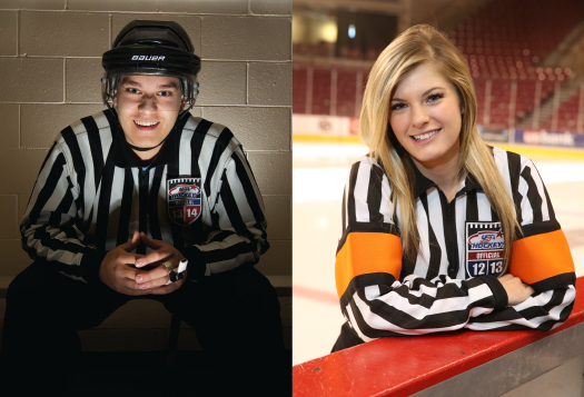 Despite the concerns that a number of officials have expressed about not getting enough games, Justin Esterly, left, and Samantha Hiller, above, say they stay busy during the course of the hockey season.