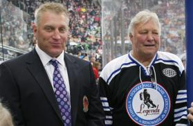 The surname Hull is synonymous with goal-scoring excellence. Above, Brett and father Bobby during a Hockey Hall of Fame induction ceremony in Toronto.