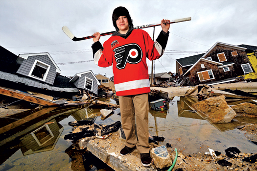 Cody Liguori, a Bantam player from Lavallette, N.J.. was evacuated from his home when the storm passed through. Cody's mom made sure to grab his hockey bag during the evacuation.