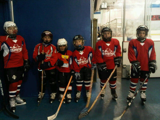 Verona Rose's team, The Panthers, with Flat Stanley Cup before their championship game
