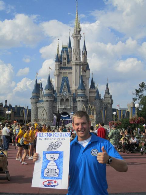 Flat Stanley Cup visiting Walt Disney World prior to the USA Hockey Junior National Tournament.: Photo submitted by Ben Wahl