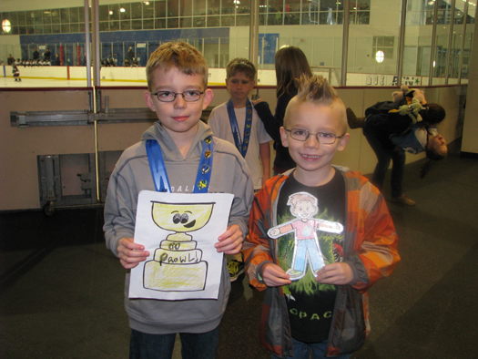 Flat Stanley Cup unites with Flat Stanley to cheer the Prowl on.: Photo submitted by Stacy Curtis