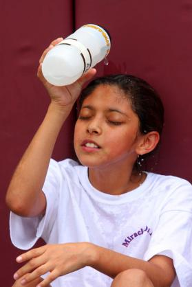 Ada Murillo cools down after a hard work out.