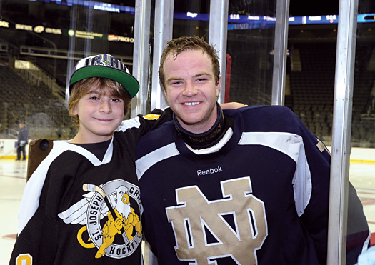 Elliot Huels finally had the chance to meet his idol Joe Rogers when the University of Notre Dame played in the Ice Breaker Tournament at the Sprint Center in Kansas City.