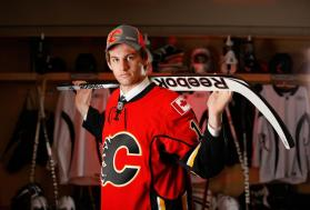 Jon Gillies, 75th overall pick by the Calgary Flames, poses for a portrait during the 2012 NHL Entry Draft at Consol Energy Center on June 23 in Pittsburgh. (Photo by Gregory Shamus/NHLI via Getty Images)