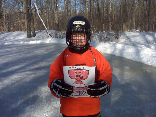 "5-year-old Liam Letters said he ""could skate all night"" on a local pond in Rochester with Flat Stanley Cup: Photo submitted by Michael Letters"