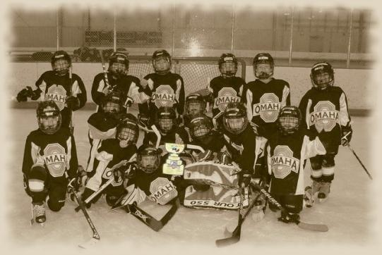 The Jr. Lancers on the ice after their final game (and win) of the weekend tournament.: Photo submitted by Stacy Peterson