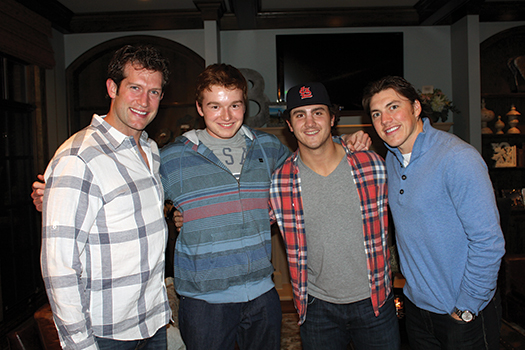 T.J. Oshie, right, along with St. Louis Blues teammates David Backes, left, and Kevin Shattenkirk, second from right, met Paralympic star Declan Farmer during a gathering for the U.S. Sled Hockey Team at Backes' house in October.