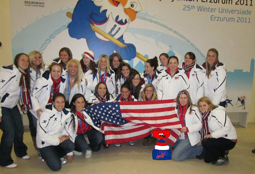 USA sent their first ever women's team to the 2011 Winter World University Games in Erzurum, Turkey.: Photo submitted by Christina Young