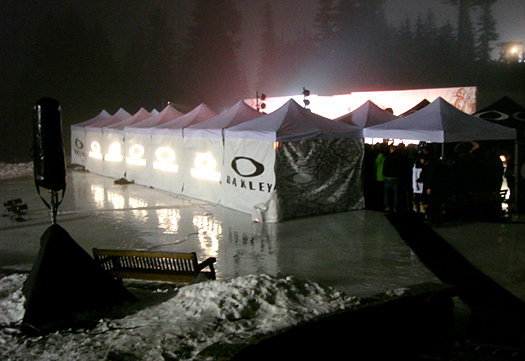 The Oakley Tents provided an oasis of marketing in the midst of the Canadian mountain.