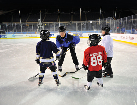 Despite the chilly temperatures, there was no shortage of kids looking to participate in the Try Hockey For Free event at Soldier Field in Chicago.