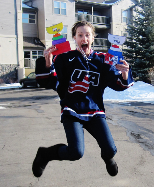 Kathryn Bevin jumps for joy with her Flat Stanley Cups in Vail, Colo.: Photo submitted by Jenna Sitte