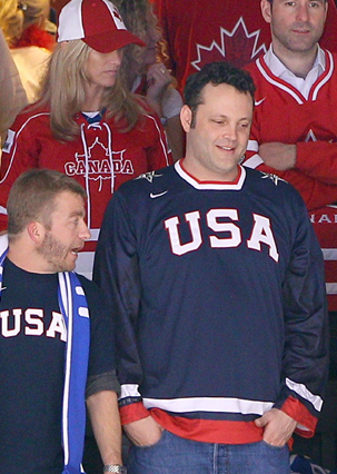 Vince Vaughn cheers on Team USA.