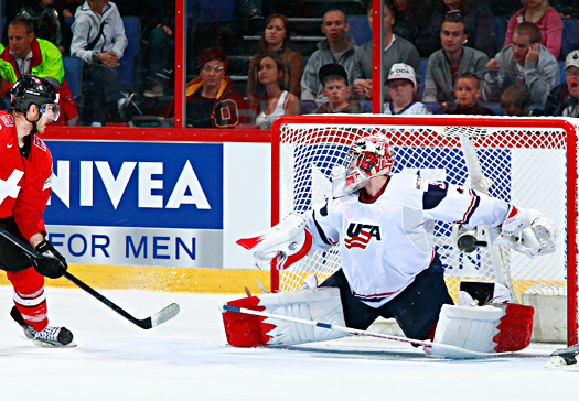 Current goaltenders, such as Jimmy Howard, above, attribute former goaltenders such as Mike Richter, Tom Barrasso, and John Vanbiesbrouck with providing their inspiration.