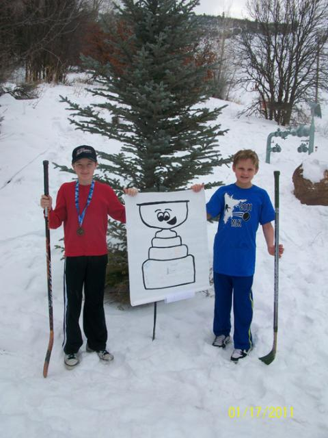 Ty & Ben Kohlrust show Stanley some snow at the MLK Durango, Colo. Tournament: Photo submitted by Stepheny Kohlrust