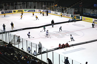 When there is no frozen lake or pond to play shinny hockey, small area games provides a great setting for learning fundamentals and having fun.