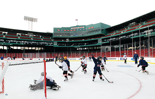 Mite hockey players from around New England were able to live out every Red Sox fan's dream of playing a game on the famous field at Fenway Park in Boston.