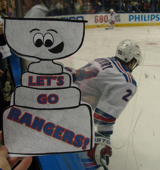 Bree Hicken took her Flat Stanley Cup to the Rangers vs. Thrashers game in Atlanta to see her favorite player (and US Olympian) Chris Drury.: Photo submitted by Bree Hicken