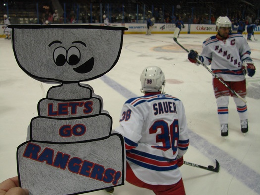 Flat Stanley can't get enough of all the US born players on the Rangers. Michael Sauer (St. Cloud, Minn.) and Chris Drury (Trumbull, Conn.).: Photo submitted by Bree Hicken
