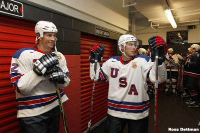 Ryan Callahan (right) stands next to fellow Team USA Olympian Ryan Malone