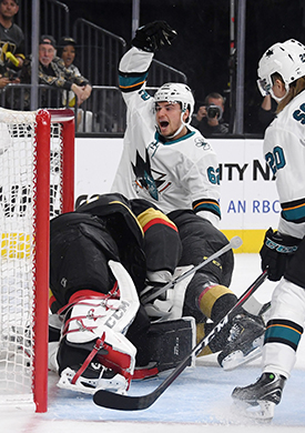 Labanc scored his first goal of the postseason on the road in Game 3. However, Vegas won 6-3.