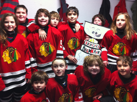 The Flat Stanley Cup for the Rochester Blackhawks Squirt 2 team: Photo submitted by Lisa Saucier