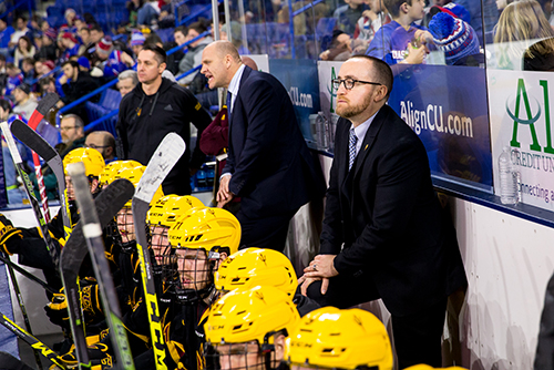 Head coach Greg Powers has had a hand in everything for the Sun Devils' hockey program. From playing goaltender on the club team while in school, to coaching the ACHA program to leading Arizona State to the NCAA Tournament this past spring.