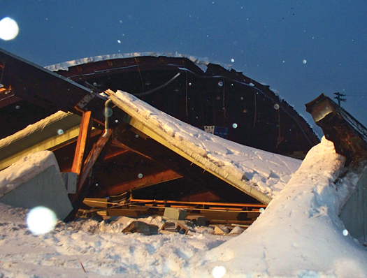 A heavy snowfall on Feb. 14 forced the roof at the Rostraver Ice Gardens near Pittsburgh to collapse, leaving local hockey players with no place to play.